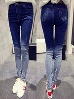 กางเกงยีนส์แฟชั่น แบบขาดๆปลายขาไล่เฉดตามแบบ-1563-สีน้ำเงิน