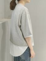 เสื้อยืดแฟชั่น คอกลม แขนสั้น ต่อผ้าคอตตอลชายเสื้อ-1491-สีเทา