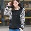 เสื้อยืดแฟชั่นคอกลมต่อแขนยาวผ้าลูกไม้สีขาว สวยหวานสไตล์เกาหลี-1547-สีดำ thumbnail 1