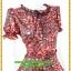 3071ชุดแซกทำงาน เสื้อผ้าคนอ้วน ผ้าเครปพิมพ์ลายกราฟฟิคสีแดงสดโดดเด่นด้วยระบายคอ แขนและระบายเอวทรงสุภาพเรียบร้อยชุดคู่กระโปรงดำพรางสะโพก thumbnail 2