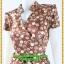 3053ชุดเสื้อผ้าคนอ้วน ชุดทำงานคอจีนลายจุดน้ำตาลประกายทองสไตล์เปรี้ยวหรูไฮโซชุดคอจีนป้ายสำเร็จเก็บทรงเนี๊ยบสุด thumbnail 3