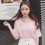 เสื้อยืดแฟชั่น ดีไซน์แต่งสายคล้องคอ 2 เส้นคู่ สวย เก๋ สไตล์เกาหลี-1553-สีชมพู thumbnail 1