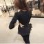 เสื้อยืดแฟชั่นแขนยาว เอวระบายต่อผ้าชีฟองพริ้วๆ -1551-สีดำ thumbnail 2