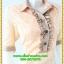 3097เสื้อผ้าคนอ้วน ชุดทำงานผ้าลูกไม้แต่งปกระบายและปลายแขน รูปแบบเรียบสไตล์หรูสีโอรสปรับสีผิวให้ผ่องสว่างใส thumbnail 2