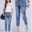 กางเกงยีนส์แฟชั่นเอวยางยืด แต่งขาดๆช่วงหน้าขา-1357-มี 3 ไซส์ thumbnail 1