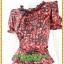 3071ชุดแซกทำงาน เสื้อผ้าคนอ้วน ผ้าเครปพิมพ์ลายกราฟฟิคสีแดงสดโดดเด่นด้วยระบายคอ แขนและระบายเอวทรงสุภาพเรียบร้อยชุดคู่กระโปรงดำพรางสะโพก thumbnail 3