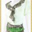 3096ชุดเดรสทำงาน เสื้อผ้าคนอ้วนคอพวงระบายสีเขียวขี้ม้าลายดอกขาวกระโปรงทรงเอผ่าขาดด้านหน้าซ้อนชิ้นใน2ชั้น thumbnail 3