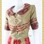 3199เสื้อผ้าคนอ้วนผ้าไทยคอปกแต่งเส้นริ้วตัวเสื้อโดดเด่นเบรคลายลงตัวกระโปรงแยกย้วยสลับสี thumbnail 3