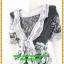 3037ชุดแซกทำงาน เสื้อผ้าคนอ้วนผ้าลูกไม้เทาคลุมด้วยลายกราฟฟิคแต่งระบายปกแขนสไตล์หรูเนี๊ยบ thumbnail 3