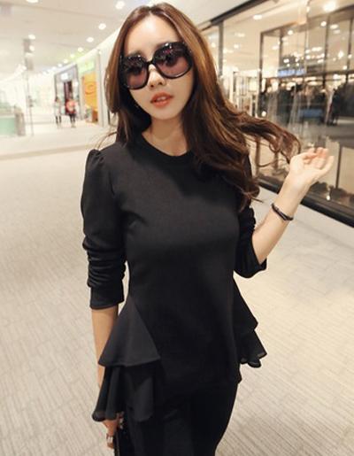 เสื้อยืดแฟชั่นแขนยาว เอวระบายต่อผ้าชีฟองพริ้วๆ -1551-สีดำ