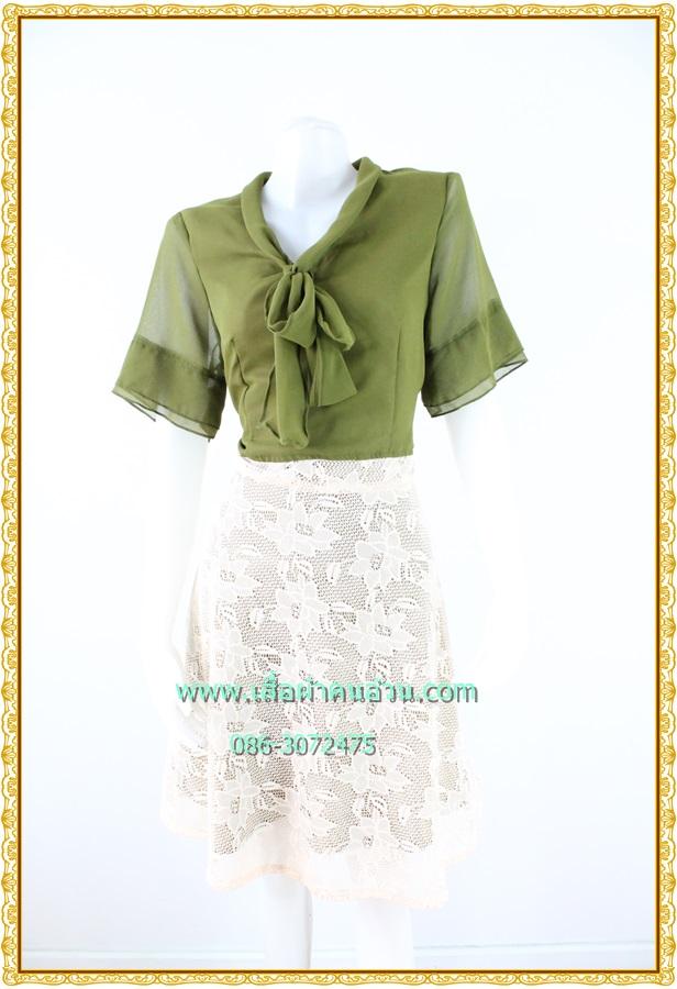 3122ชุดทํางาน เสื้อผ้าคนอ้วนชีฟองสีเขียวแขน2ชั้นสไตล์หรูเบาสบายรับซัมเมอร์ คอผูกโบสไตล์สุภาพ เรียบร้อยกระโปรงลูกไม้ มีซับในสีสวยหวาน