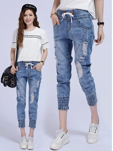 กางเกงยีนส์แฟชั่นเอวยางยืด แต่งขาดๆช่วงหน้าขา-1357-มี 3 ไซส์